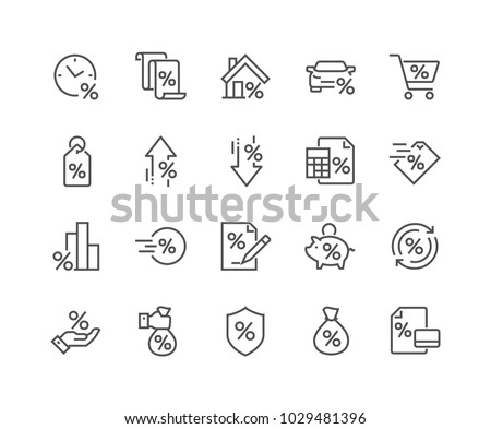 Simple Set of Loan Related Vector Line Icons.  Contains such Icons as Interest Rate, Investment Plan, Percentage Diagram and more. Editable Stroke. 48x48 Pixel Perfect. #1029481396