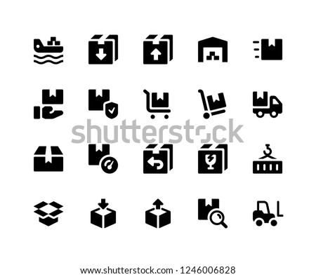 Simple Set of Logistic Related Vector Glyph Icons. Contains such Icons as freighter, package, inventory, warehouse, trolly and More. pixel perfect vector icons based on 32px grid. Well Organized