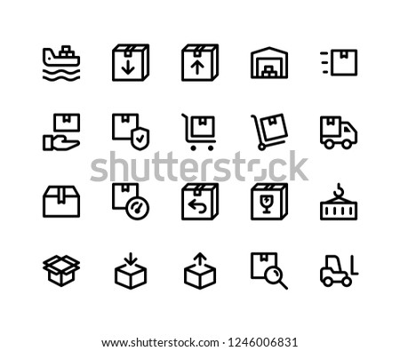 Simple Set of Logistic Related Vector Line Icons. Contains such Icons as freighter, package, inventory, warehouse, trolly and More. pixel perfect vector icons based on 32px grid. Editable Strokes