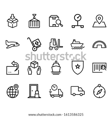Simple Set of Logistics Related Vector Lines Icons. Contains icons such as boxes, planes, cars, scales, containers and more.