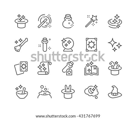 Simple Set of Magic Related Vector Line Icons.  Contains such Icons as Magic Hat, Wand, Spell Book, Effect and more.  Editable Stroke. 48x48 Pixel Perfect.