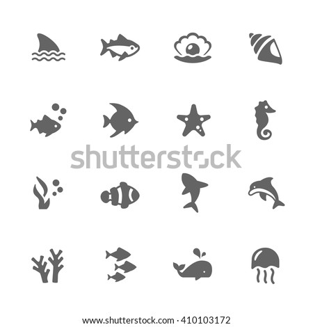 Simple Set of Marine Life Related Vector Icons. Contains Such Icons as Seahorse, Fish Flock, Perl and More.