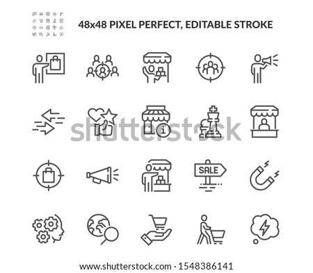 Simple Set of Marketing Strategy Related Vector Line Icons.  Contains such Icons as Product Presentation, Seller, Buyer and more. Editable Stroke. 48x48 Pixel Perfect.