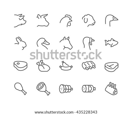 Simple Set of Meat Related Vector Line Icons.  Contains such Icons as Pork, Beef, Goose, Rabbit, Duck, Horse, Turkey, Fish and more.  Editable Stroke. 48x48 Pixel Perfect.