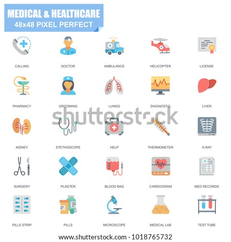 Simple Set of Medical and Healthcare Related Vector Flat Icons. Contains such Icons as Doctor, Grooming, Pharmacy, Stethoscope, X-ray, Pills and more. Editable Stroke. 48x48 Pixel Perfect.