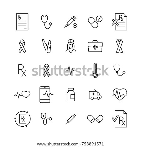 Simple set of medical related outline icons. Elements for mobile concept and web apps. Thin line vector icons for website design and development, app development. Premium pack.