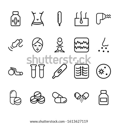 Simple set of medical science Related Vector Lines Icons. Contains icons such as medication, x-rays, hair, tablets and more.