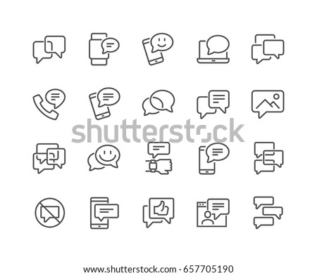 Simple Set of Message Related Vector Line Icons.  Contains such Icons as Conversation, SMS, Notification, Group Chat and more. Editable Stroke. 48x48 Pixel Perfect.