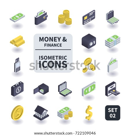 Simple Set of Money and Finance Icons in flat isometric 3D style. Contains such icons as Bank card, Coins, Safe, Gold bar, Wallet and more.