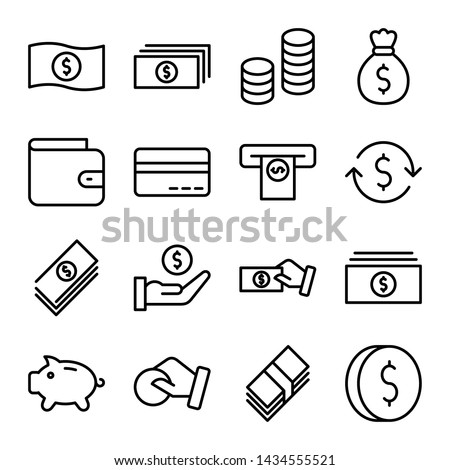 Simple set of money and finance related vector line icons