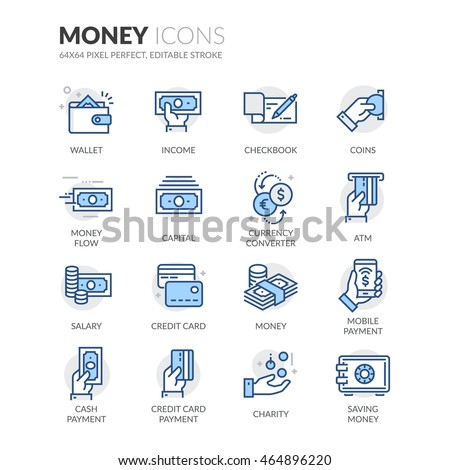 Simple Set of Money Related Color Vector Line Icons.  Contains such Icons as Wallet, Credit Card Payment, Money Flow and more. Editable Stroke. 64x64 Pixel Perfect.