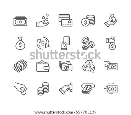 Simple Set of Money Related Vector Line Icons.  Contains such Icons as Wallet, ATM, Bundle of Money, Hand with a Coin and more. Editable Stroke. 48x48 Pixel Perfect. - Shutterstock ID 657705139