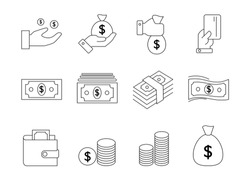 simple set of money vector line icons, icon of money, wallet, atm, bundle of money, hand with coin and money icons.