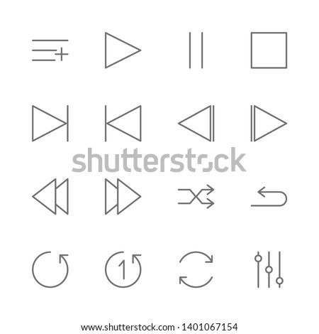 Simple Set of music player interface Related Vector thin Line Icons. Contains such as play, start, pause, stop, next, skip, playback, repeat, shuffle, mixer, playlist, add and more. illustration