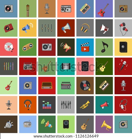 Simple Set of Music Vector flat Icons. Guitar, Treble Clef, In-ear Headphones, Trumpet and more musical equipment & instruments