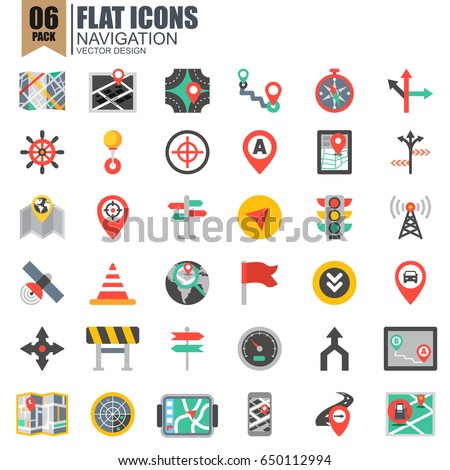 Simple set of navigation flat icons vector design. Contains such as store locator, traffic light, navigator, map and more. Pixel Perfect. Can be used for websites, infographics, mobile apps.