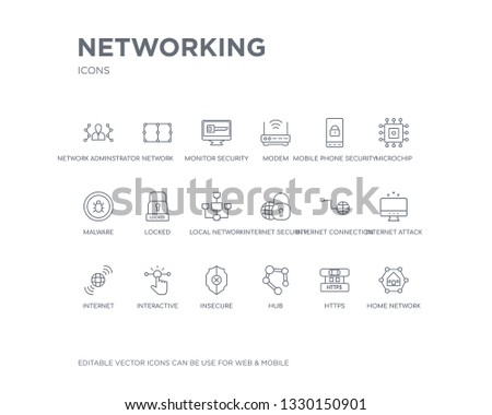 simple set of networking vector line icons. contains such icons as home network, https, hub, insecure, interactive, internet, internet attack, internet connection, security and more. editable pixel