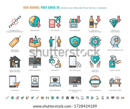 Simple Set of New Normal After Coronavirus 2019 or Covid-19 Ends Related. Such as Streaming, Online Shopping, Supply Recalibration. Filled Outline Icons Vector. 64x64 Pixel Perfect. Editable Stroke.