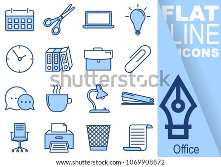 Simple Set of Office vector flat line blue Icons - calendar, scissors, notebook, bulb, clock, folders, suitcase, buckle, communication, mug, lamp, stapler, chairs, printer, waste bin, paper