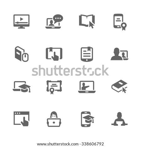 Simple Set of Online Education Related Vector Icons. Contains such icons as online lecture, diploma, communication and more. Modern vector pictogram collection.