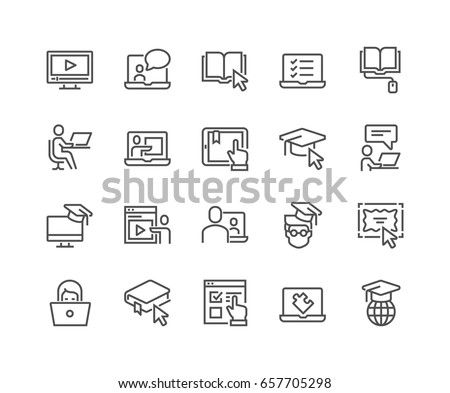 Simple Set of Online Education Related Vector Line Icons.  Contains such Icons as Video Tutorial, E-book, On-line Lecture, Education Plan and more. Editable Stroke. 48x48 Pixel Perfect. #657705298