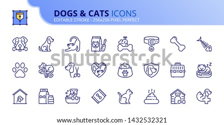 Simple set of outline icons about dogs and cats. Pets. Editable stroke. Vector - 256x256 pixel perfect.