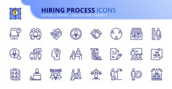 Simple set of outline icons about hiring process. Human resources concept. Editable stroke. Vector - 256x256 pixel perfect.