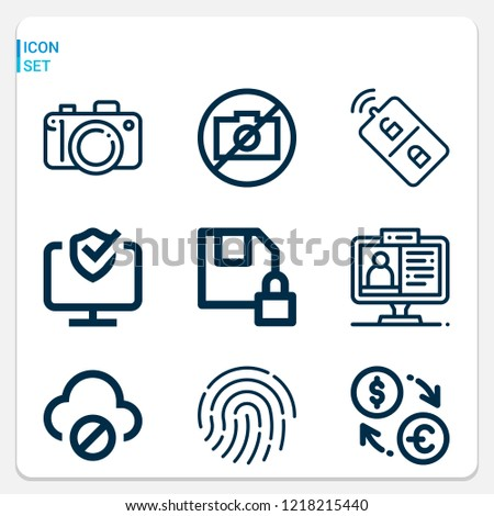 Simple set of  9 outline icons on following themes camera, exchange, diskette, fingerprint, remote control, cloud computing, online learning web icons with high quality