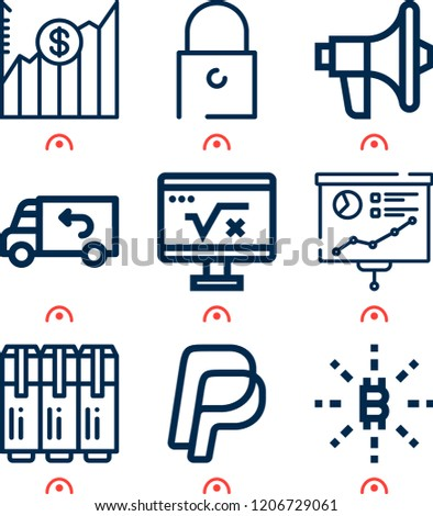 Simple set of  9 outline icons on following themes growth, bitcoin, promotion, padlock, paypal, delivery truck, presentation, markers web icons with high quality