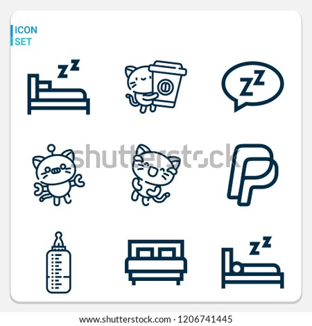 Simple set of  9 outline icons on following themes paypal, bed, sleep, dream, kitty web icons with high quality