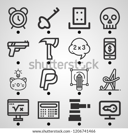 Simple set of  16 outline icons on following themes paypal, payment method, alarm, auction, gun, skull, axe, key, security, sketching web icons with high quality