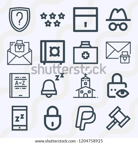 Simple set of  16 outline icons on following themes paypal, rating, notification, zzz, first aid kit, email, padlock, safebox, private message web icons with high quality