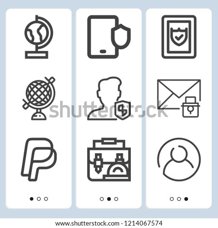 Simple set of  9 outline icons on following themes user, smartphone, paypal, email, globe web icons with high quality