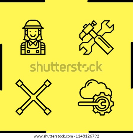 Simple set of 4 outline tools icons such as