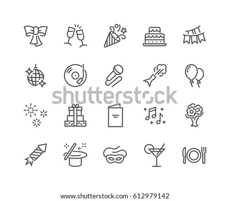 Simple Set of Party Related Vector Line Icons. Contains such Icons as Bouquet of Flowers, Karaoke, Dj, Masquerade and more. Editable Stroke. 48x48 Pixel Perfect.