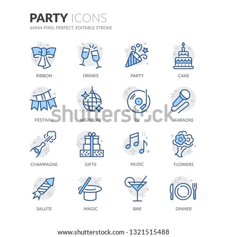 Simple Set of Party Related Vector Line Icons. Contains such Icons as Festival, Karaoke, Music and more. Editable Stroke. 64x64 Pixel Perfect.