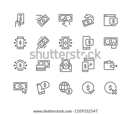 Simple Set of Payment Related Vector Line Icons. Contains such Icons as Pay with Phone, Send by Mail, Accept - Reject Payment and more. Editable Stroke. 48x48 Pixel Perfect.