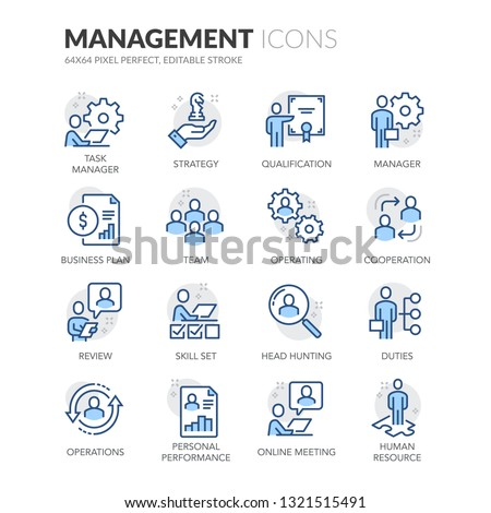 Simple Set of People Management Related Vector Line Icons.  Contains such Icons as Task Manager, Qualification, Head Hunting and more. Editable Stroke. 64x64 Pixel Perfect.