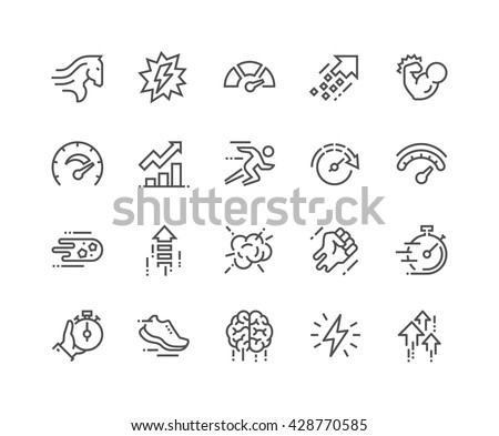 Simple Set of Performance Related Vector Line Icons.  Contains such Icons as Power, Speed, Graph, Sprint, Boost, Brain, Gain and more.  Editable Stroke. 48x48 Pixel Perfect.  #428770585
