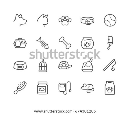 Simple Set of Pet Related Vector Line Icons.  Contains such Icons as Collar, Toys, Pet Food and more. Editable Stroke. 48x48 Pixel Perfect.