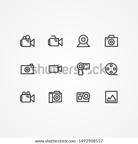 Simple Set of Photography Related Vector Line Icons. Editable Stroke