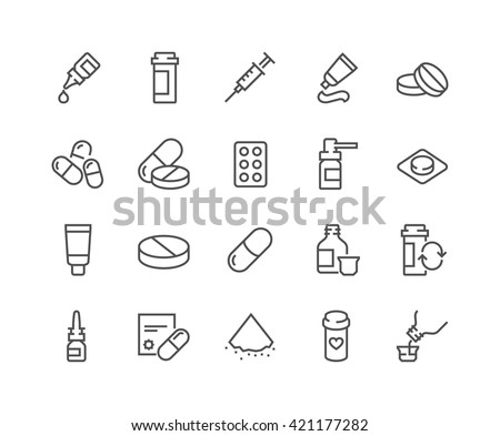 Shutterstock Simple Set of Pills Related Vector Line Icons.  Contains such Icons as Gel, Inhaler, Prescription, Syrup and more.  Editable Stroke. 48x48 Pixel Perfect.