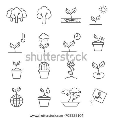 Simple Set of plants Related Vector Line Icons. Contains such Icons as cactus, house plants, gardening, seeds and more.