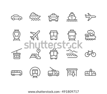 Simple Set of Public Transport Related Vector Line Icons. \ Contains such Icons as Taxi, Train, Tram and more.\ Editable Stroke. 48x48 Pixel Perfect.
