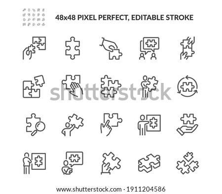 Simple Set of Puzzle Related Vector Line Icons. Contains such Icons as Thinking Man, Problem Discussion, Puzzle Pieces and more. Editable Stroke. 48x48 Pixel Perfect. Foto stock ©