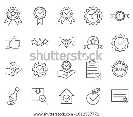 Simple Set of quality Related Vector Line Icons. Contains such Icons as print, certificate, star rating, product, reliability, luxury and more.  Сток-фото ©