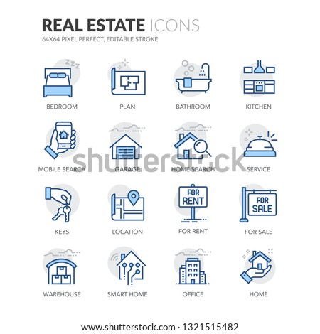 Simple Set of Real Estate Related Vector Line Icons. Contains such Icons as For Rent Sign, Office, Location and more. Editable Stroke. 64x64 Pixel Perfect.