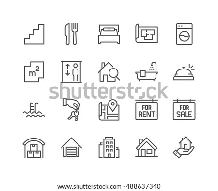 Simple Set of Real Estate Related Vector Line Icons.  Contains such Icons as Map, Plan, Bedrooms, Area, Bell and more. Editable Stroke. 48x48 Pixel Perfect. #488637340