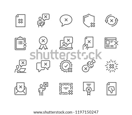 Simple Set of Reject Related Vector Line Icons. Contains such Icons as Refuse Stamp, Cancellation, Decline and more. Editable Stroke. 48x48 Pixel Perfect.