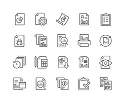 Simple Set of Report Related Vector Line Icons.  Contains such Icons as Auto Reports, Calculation, Settings, Generate and more. Editable Stroke. 48x48 Pixel Perfect.